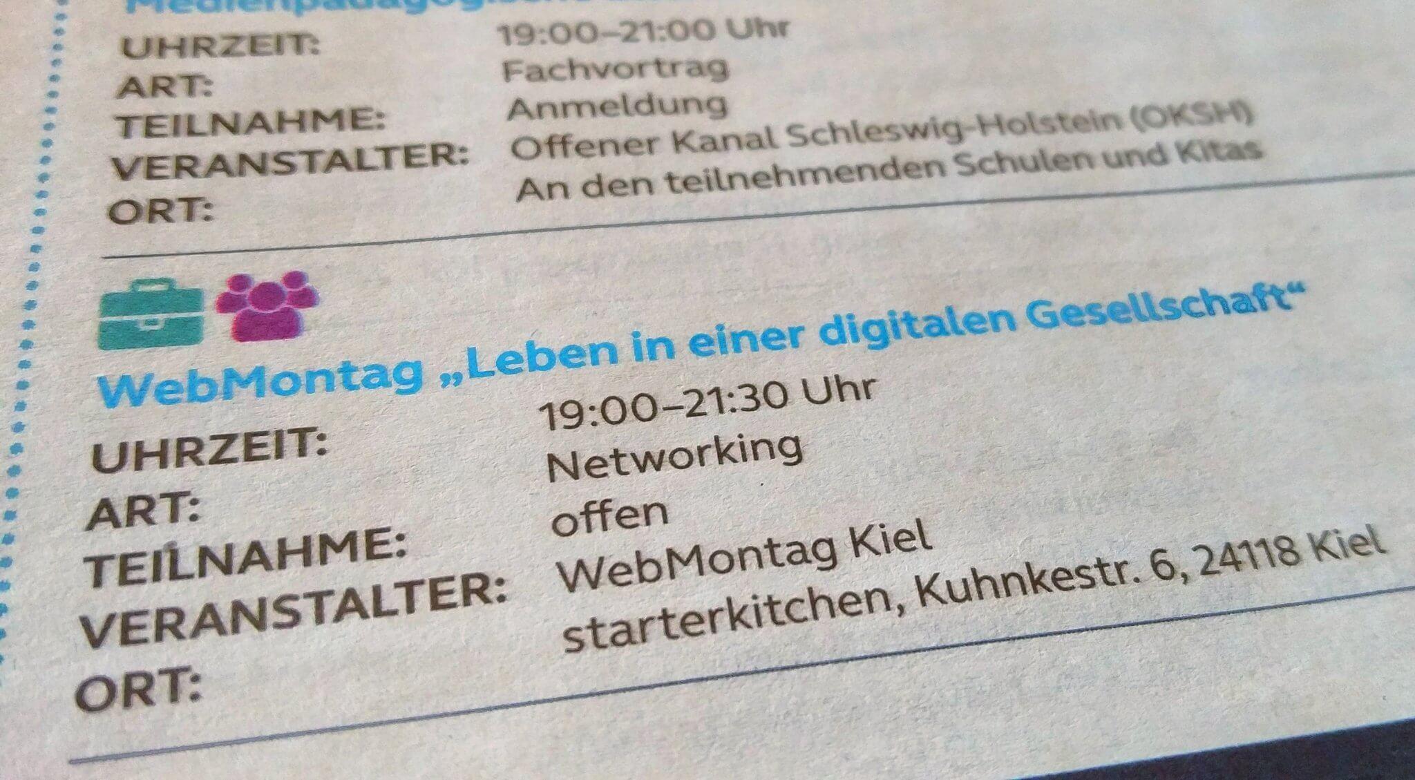 Auszug aus dem gedruckten Programm der Digitalen Woche Kiel